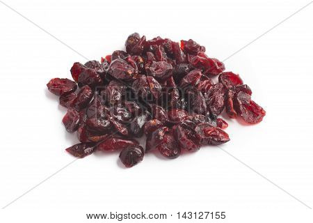 Close-up on a Dried Cranberries over a white background