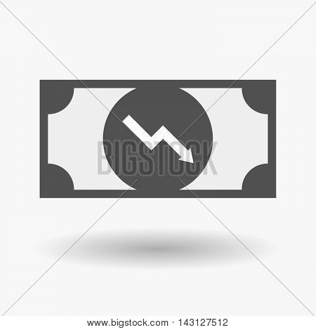 Isolated Bank Note Icon With A Descending Graph