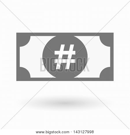 Isolated Bank Note Icon With A Hash Tag