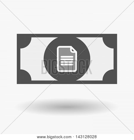 Isolated Bank Note Icon With A Document