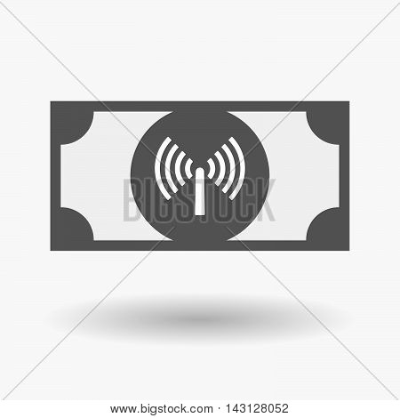 Isolated Bank Note Icon With An Antenna