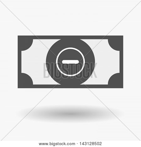 Isolated Bank Note Icon With A Subtraction Sign