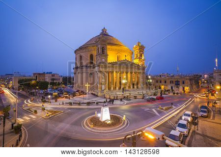 Beautiful Mosta Dome at blue hour with traffic - Malta