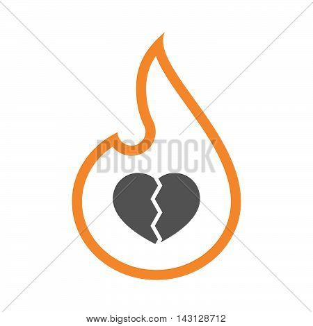 Isolated Isolated Line Art Flame Icon With A Broken Heart