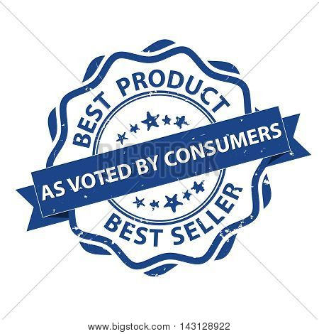 Best Product, Best seller, as voted by consumers - grunge blue printable label / stamp. Print colors used