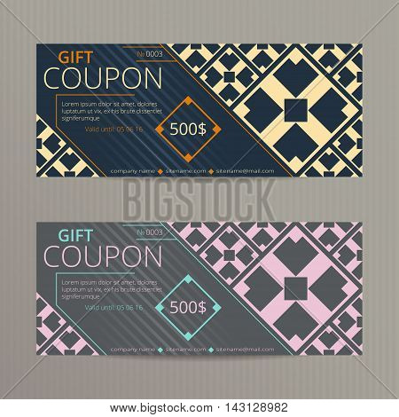 Gift voucher with elegant design. Gift card template. Coupon discount set.