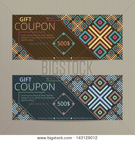 Gift voucher with abstract geometric design. Gift card template. Coupon discount set.