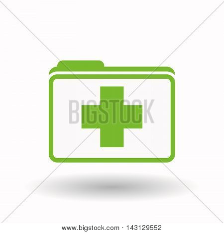 Isolated  Line Art  Folder Icon With A Pharmacy Sign