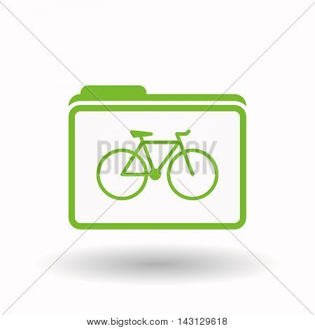 Isolated  Line Art  Folder Icon With A Bicycle