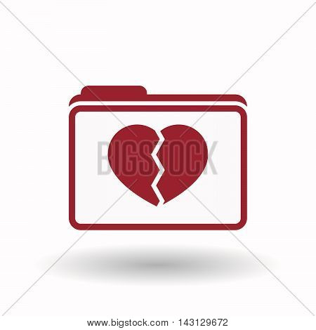 Isolated  Line Art  Folder Icon With A Broken Heart