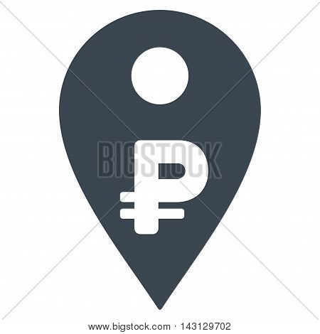 Rouble Map Marker icon. Vector style is flat iconic symbol with rounded angles, smooth blue color, white background.