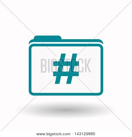 Isolated  Line Art  Folder Icon With A Hash Tag