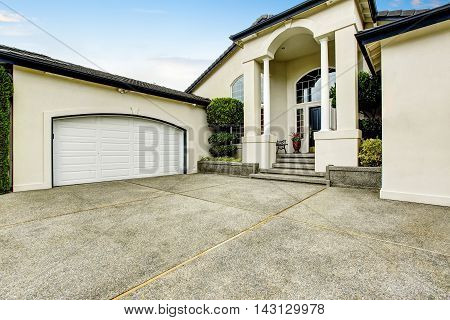 Luxury House Exterior With Concrete Floor Porch With Columns