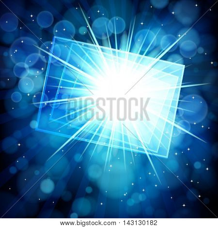 Blue abstract background with bokeh defocused lights. Rectangular banner for your text.
