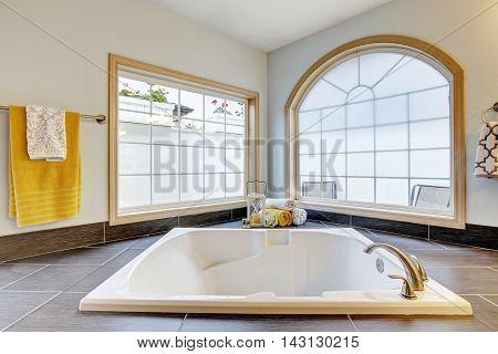 Master Bathroom With Luxury With Bathtub And Big Windows