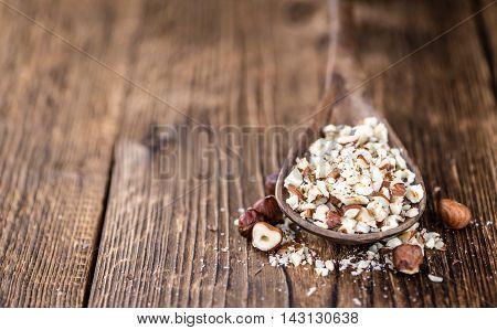 Hazelnuts (chopped, Selective Focus)