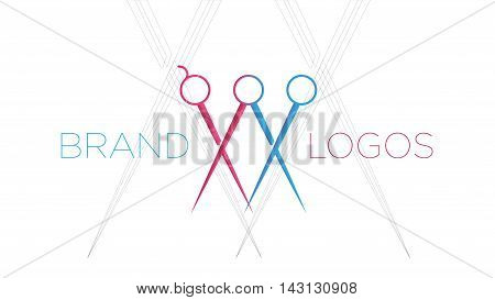 Barber shop logo vector template. Modern flat label logo design. Barber saloon logo design. Fashion barber saloon logo. Man and woman scissors logo for a barber shop.