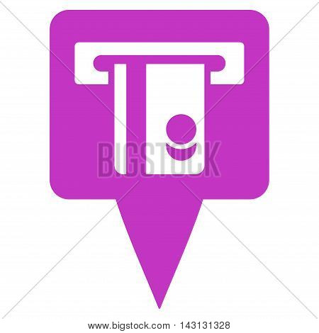 ATM Terminal Marker icon. Vector style is flat iconic symbol with rounded angles, violet color, white background.
