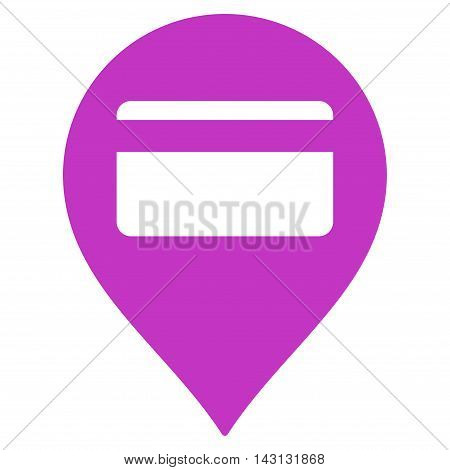 Credit Card Pointer icon. Vector style is flat iconic symbol with rounded angles, violet color, white background.