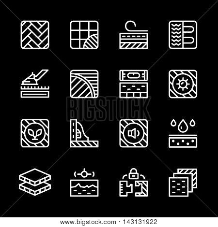 Set line icons of floor isolated on black. Vector illustration
