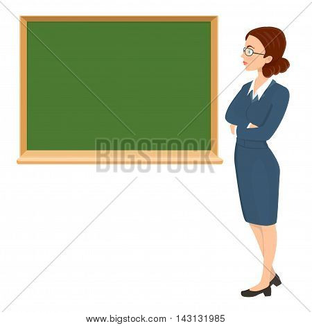 Young woman teacher with eyeglasses and chalkboard background. vector cartoon illustration