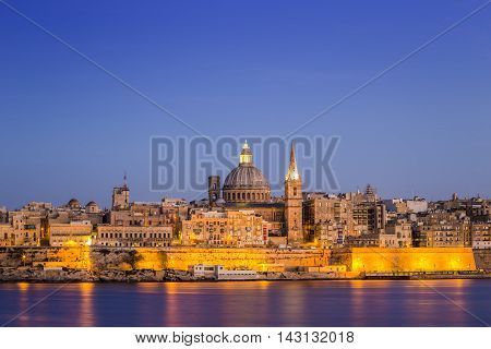 The ancient city of Valletta at blue hour - Malta