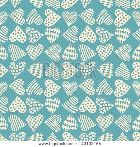 Blue Seamless Pattern With Beige Cartoon Hearts