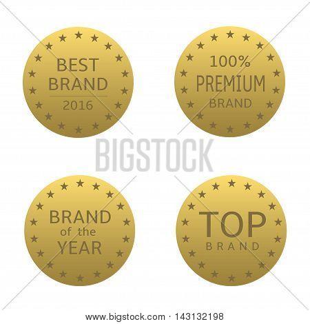Golden label set. Best brand, brand of the year, premium brand, top brand