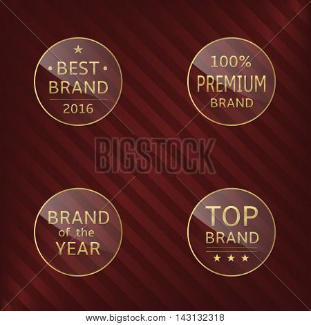 Glass label set. Best brand, brand of the year, premium brand, top brand