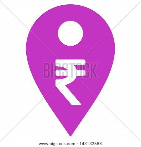 Rupee Map Marker icon. Vector style is flat iconic symbol with rounded angles, violet color, white background.