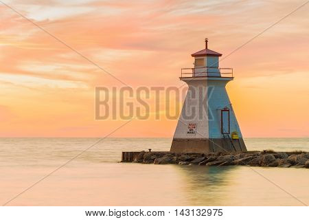 Lighthouse situated in Southampton Ontario photographed at sunset.
