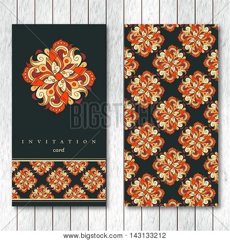 Template of greeting invitation card or brochure with hand drawn abstract elements. Vintage oriental style. Indian asian arabic islamic ottoman motif. Vector illustration.