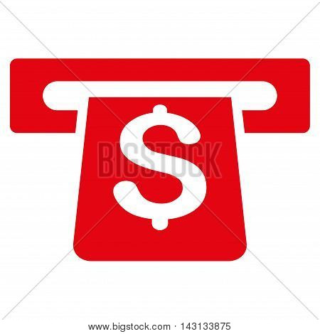 Payment Terminal icon. Vector style is flat iconic symbol with rounded angles, red color, white background.