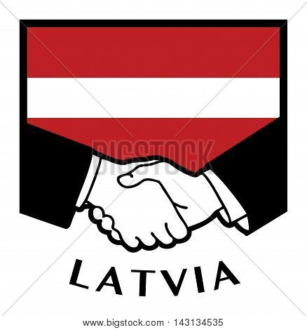 Latvia flag and business handshake, vector illustration