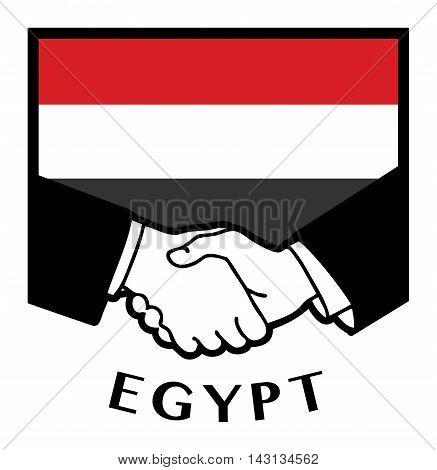 Egypt flag and business handshake, vector illustration