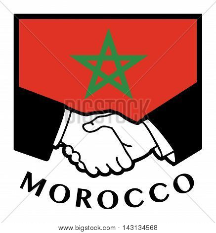 Morocco flag and business handshake, vector illustration