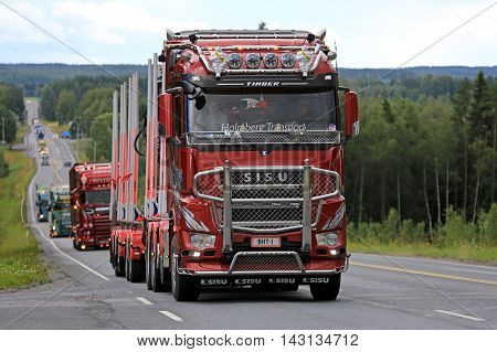 IKAALINEN, FINLAND - AUGUST 11, 2016: Sisu Polar Euro 6 logging truck of Br Holmberg Transport takes part in truck convoy to the annual trucking event Power Truck Show 2016 in Alaharma Finland.