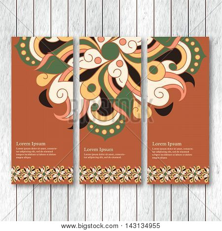Set of vertical banners flyers cards with hand drawn abstract tribal elements. Vintage oriental style. Indian asian arabic islamic ottoman motif. Vector illustration.