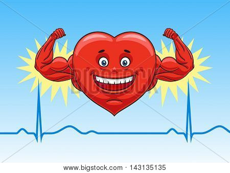 Cartoon heart shows his strength and good muscle tone.