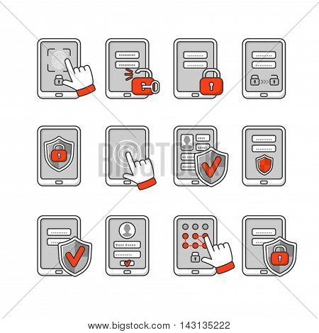 Vector icons set of mobile security. Smartphone security concept. Password key and lock on smartphone. Signs to protect the phone.