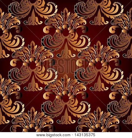 Baroque modern stylish floral vector seamless pattern background with vintage beautiful volumetric ornaments. Luxury illustration and royal 3d decor elements with shadow and highlights. Endless elegant  texture.