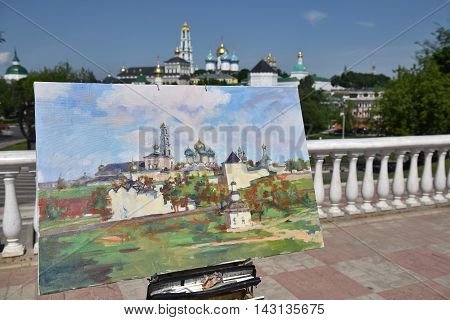 Sergiev Posad, Russia - may 28, 2016: drawn picture of the Cathedral of the Holy Trinity-St. Sergius Lavra. Sergiyev Posad is included into the Golden ring of Russia and is a pilgrimage center of the Christian world.