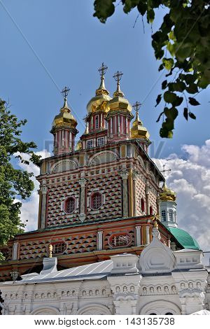 Sergiev Posad, Russia - may, 28 2016: The Cathedral of the Holy Trinity St. Sergius Lavra. The Shrine of all Christians. The center of pilgrimage of the Christian world. Sergiyev Posad is included into the Golden ring of Russia.