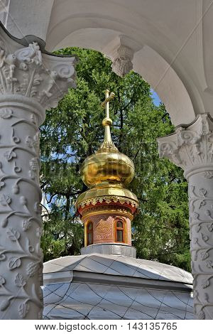 Sergiev Posad, Russia - may 28, 2016: Carved columns in the Cathedral of the Holy Trinity St. Sergius Lavra. The Shrine of all Christians. The center of pilgrimage of the Christian world. Sergiyev Posad is included into the Golden ring of Russia.