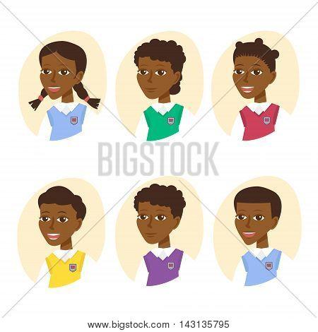 Set of cute cartoon pupils. Children icon set isolated on white background. Vector Illustration