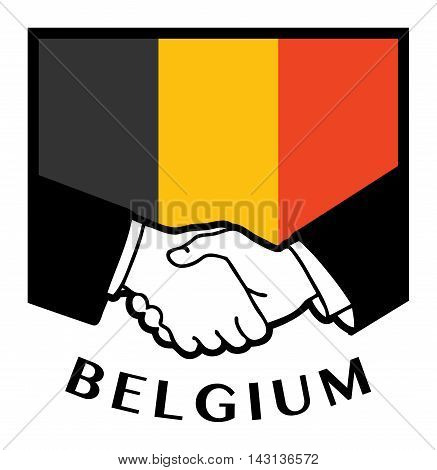Belgium flag and business handshake, vector illustration