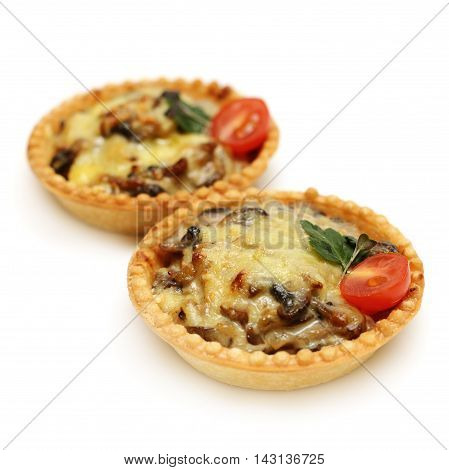 two Baked mushrooms with cheese in canape