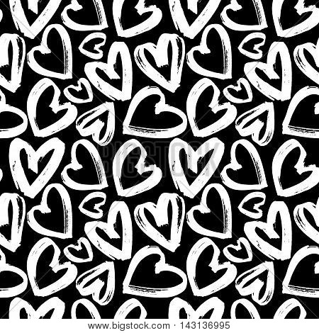 Seamless pattern white heart on black background, monochrome heart pattern, vector illustration, design for banner, flyer, card, invitation, holiday, wrapping, textile