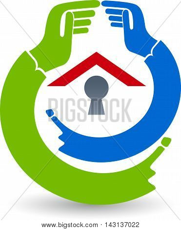 Illustration art of a safty house logo with isolated background
