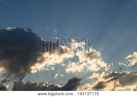 Sky, blue sky, blue sky and clouds, beautiful blue summer sky, blue sky and white clouds, sunset